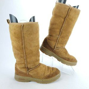LL Bean Suede Sherpa Lined Tan Winter Snow Boots